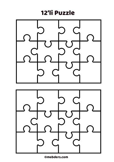 12'li puzzle şablon