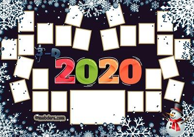 3D Sınıfı için 2020 Yeni Yıl Temalı Fotoğraflı Afiş (24 öğrencilik)