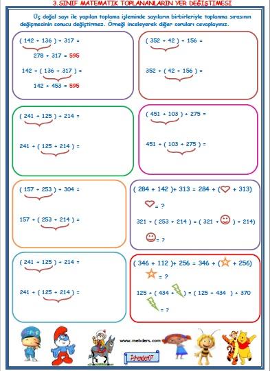 3.Sınıf Matematik Toplananların Yer Değiştirmesi
