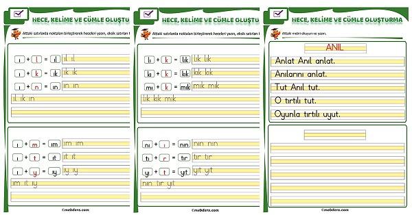 1.Sınıf İlk Okuma I Sesi Birleştirme Etkinliği