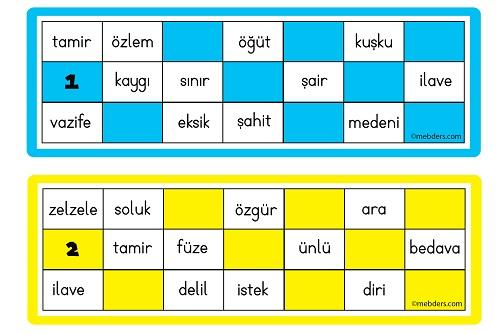 Eş Anlamlı Sözcüklerle Tombala Oyun Kartları