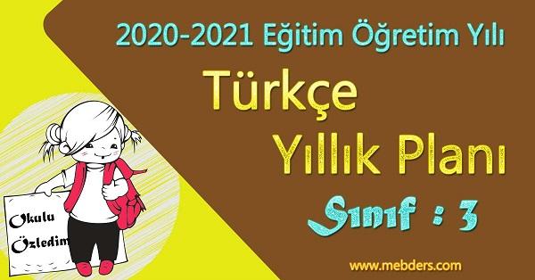 2020 - 2021 Yılı 3.Sınıf Türkçe Yıllık Planı (MEB)