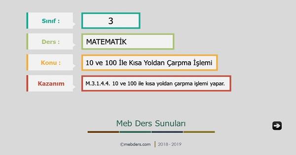 3.Sınıf Matematik 10 ve 100 İle Kısa Yoldan Çarpma İşlemi Sunusu
