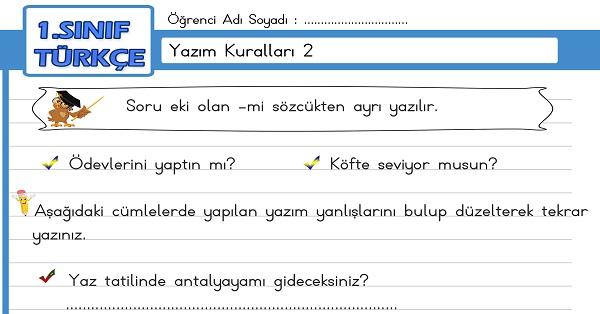 1.Sınıf Türkçe Yazım Kuralları Etkinliği 2