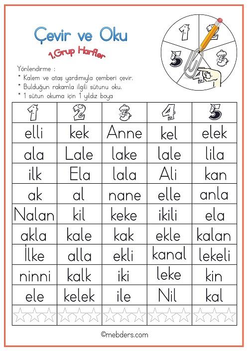 Çevir ve Oku Etkinliği - 1.Grup Harfler