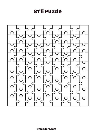81'li puzzle şablon