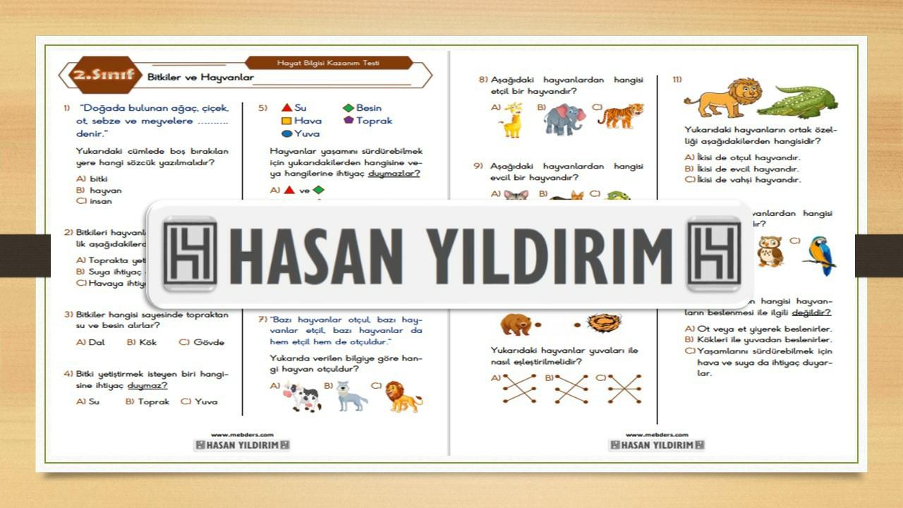 2.Sınıf Hayat Bilgisi Bitkiler ve Hayvanlar Testi