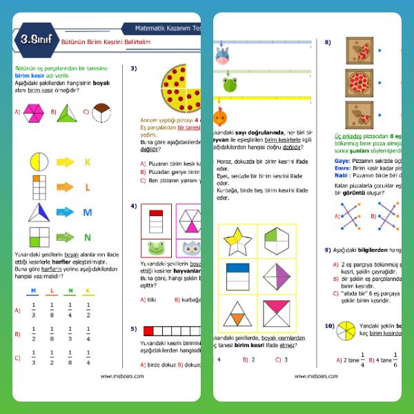 3. Sınıf Matematik Bütünün Birim Kesrini Belirtelim Kazanım Testi