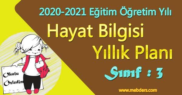 2020 - 2021 Yılı 3.Sınıf Hayat Bilgisi Yıllık Planı (MEB)
