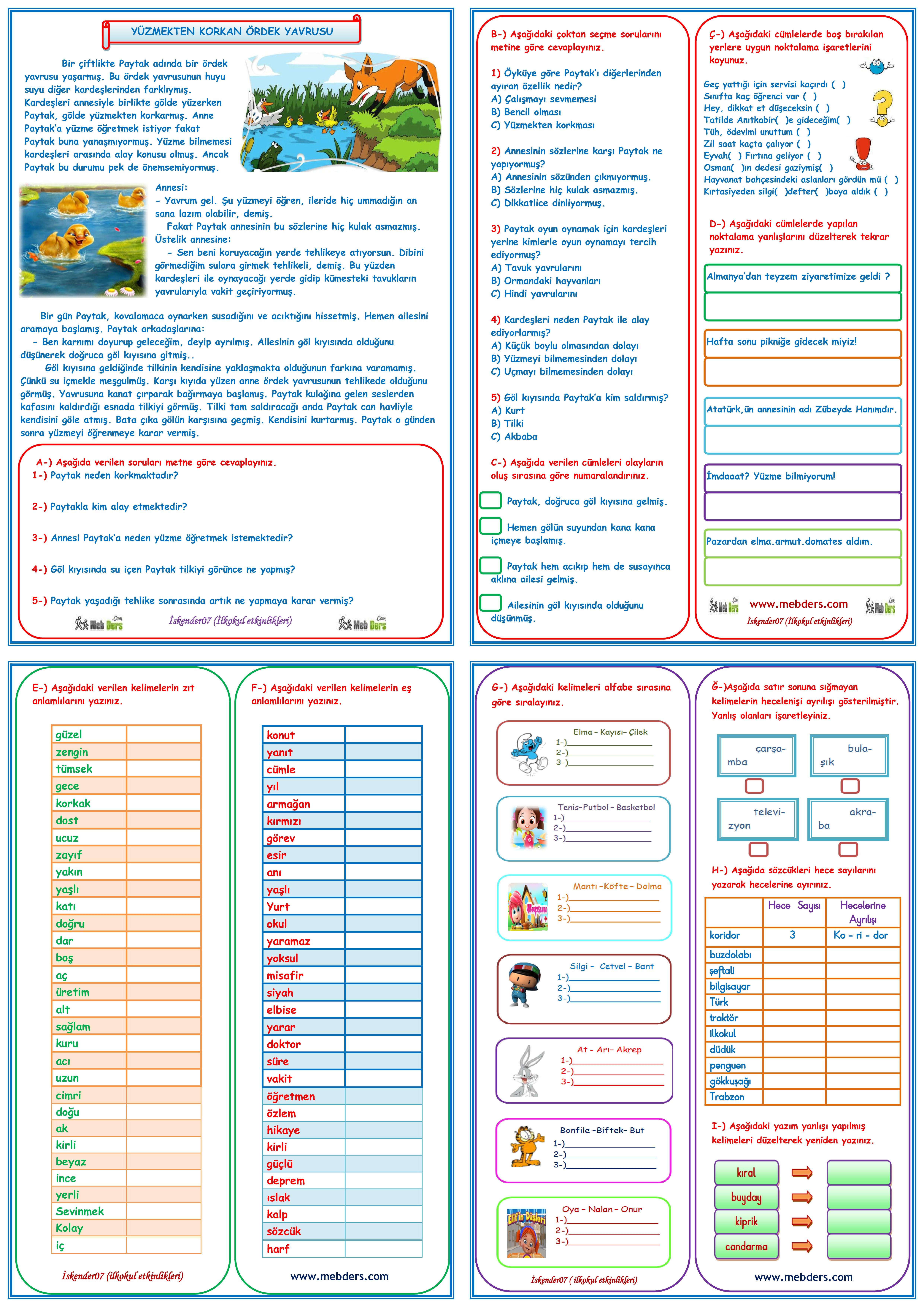 1.SINIF TÜRKÇE DERSİ TELAFİ EĞİTİMİ (4 SAYFA)
