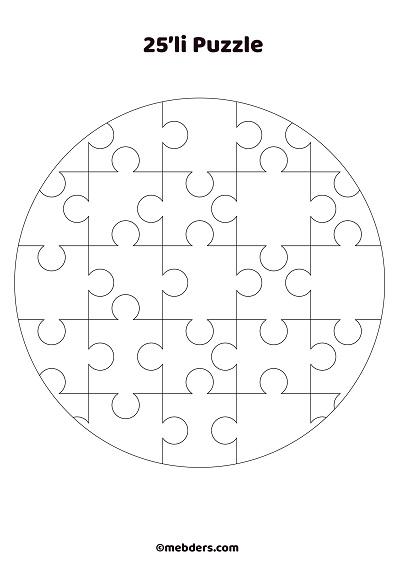 25'li çember puzzle şablon