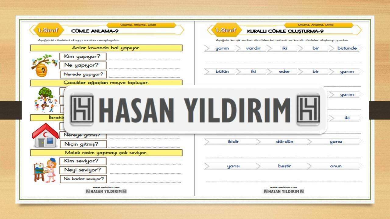 1.Sınıf Türkçe Cümle Anlama ve Kurallı Cümle Oluşturma-9
