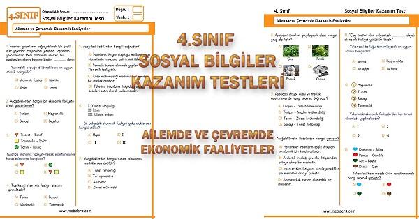 4.Sınıf Sosyal Bilgiler Kazanım Testi - Ailemde ve Çevremde Ekonomik Faaliyetler