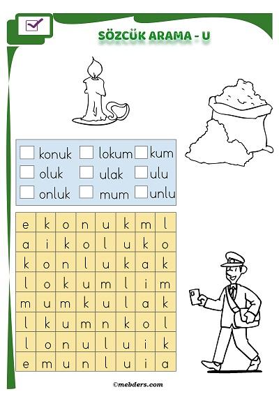 1.Sınıf İlkokuma Boyamalı Sözcük Arama Etkinliği - U Sesi