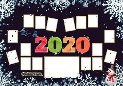 2A Sınıfı için 2020 Yeni Yıl Temalı Fotoğraflı Afiş (16 öğrencilik)