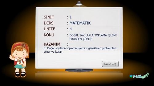 1.Sınıf Matematik Doğal Sayılarla Toplama İşlemi Problemleri Çözme Sunusu