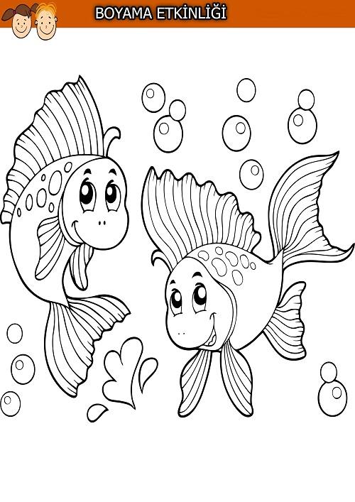 İki balık boyama etkinliği
