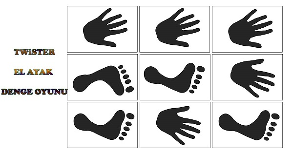 Twister el ayak denge oyunu şablonları