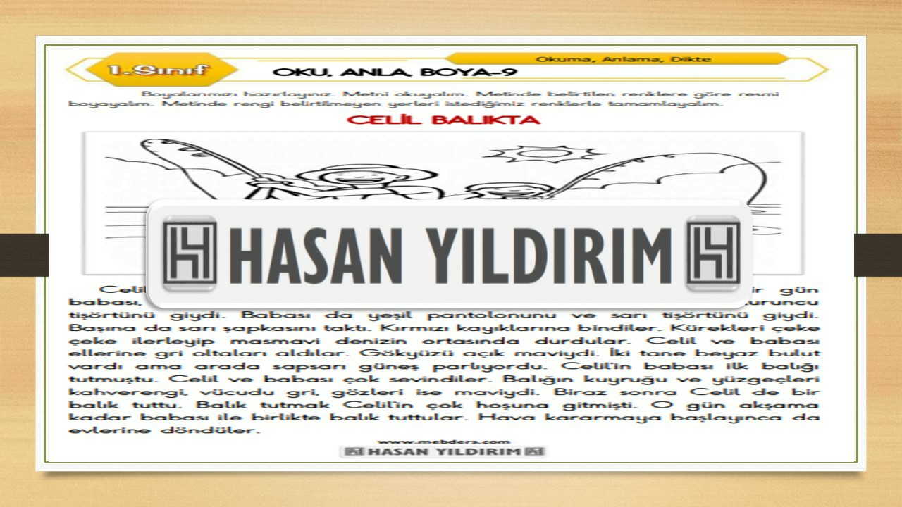 1.Sınıf Türkçe Oku, Anla, Boya-9