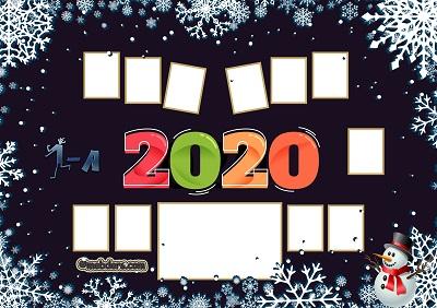 1A Sınıfı için 2020 Yeni Yıl Temalı Fotoğraflı Afiş (11 öğrencilik)
