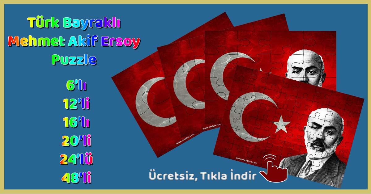 Türk Bayraklı Mehmet Akif Ersoy Puzzle