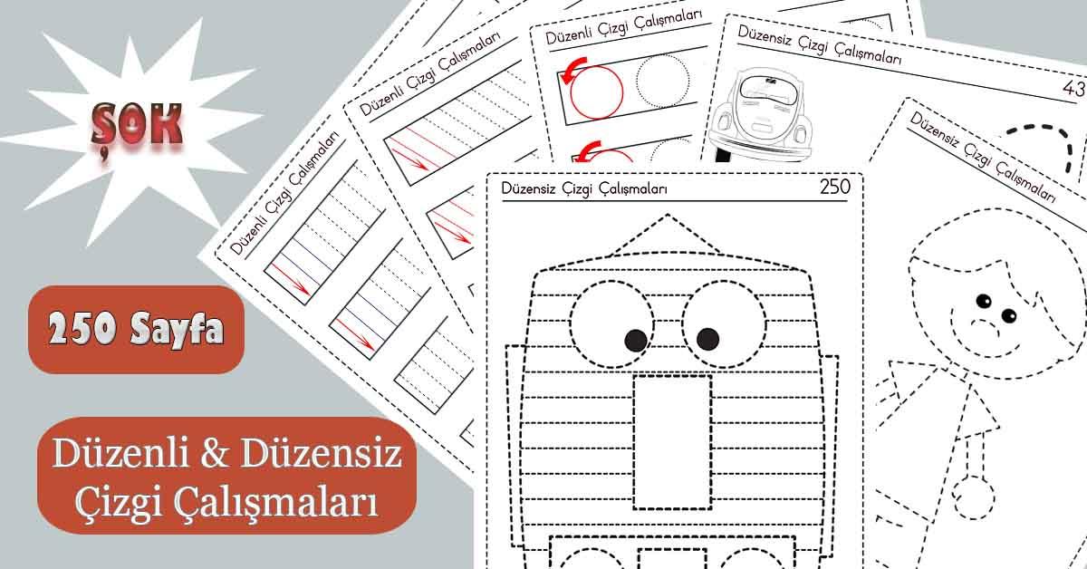 1.Sınıflar için 250 Sayfalık Düzenli Düzensiz Çizgi Çalışmaları