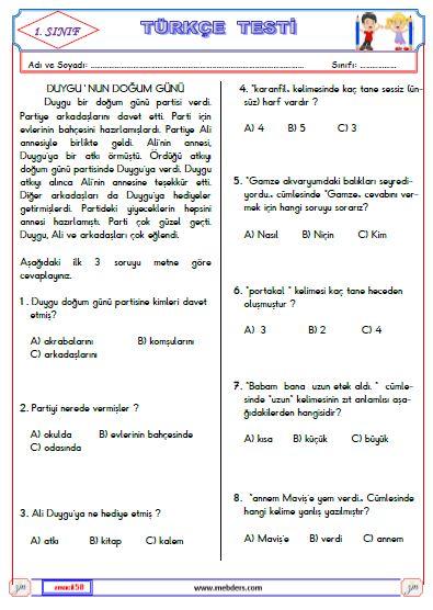 1. Sınıf Türkçe Test 2