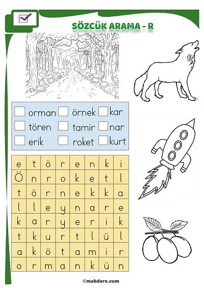 1.Sınıf İlkokuma Boyamalı Sözcük Arama Etkinliği - R Sesi