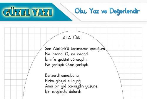 Şiir oku yaz değerlendir etkinliği - Atatürk