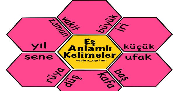1.Sınıf Türkçe Eş Anlamlı Kelimeler Altıgen Çiçek Etkinliği