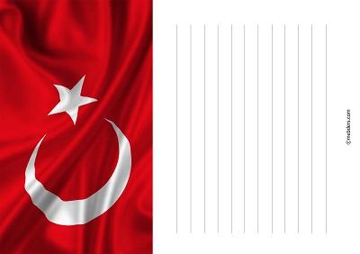 Üst yarısı bayrak desenli yazı şablonu