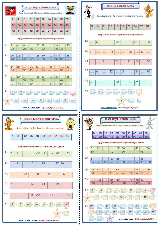 2.Sınıf Matematik Dersi Ritmik Saymalar (4 SAYFA)