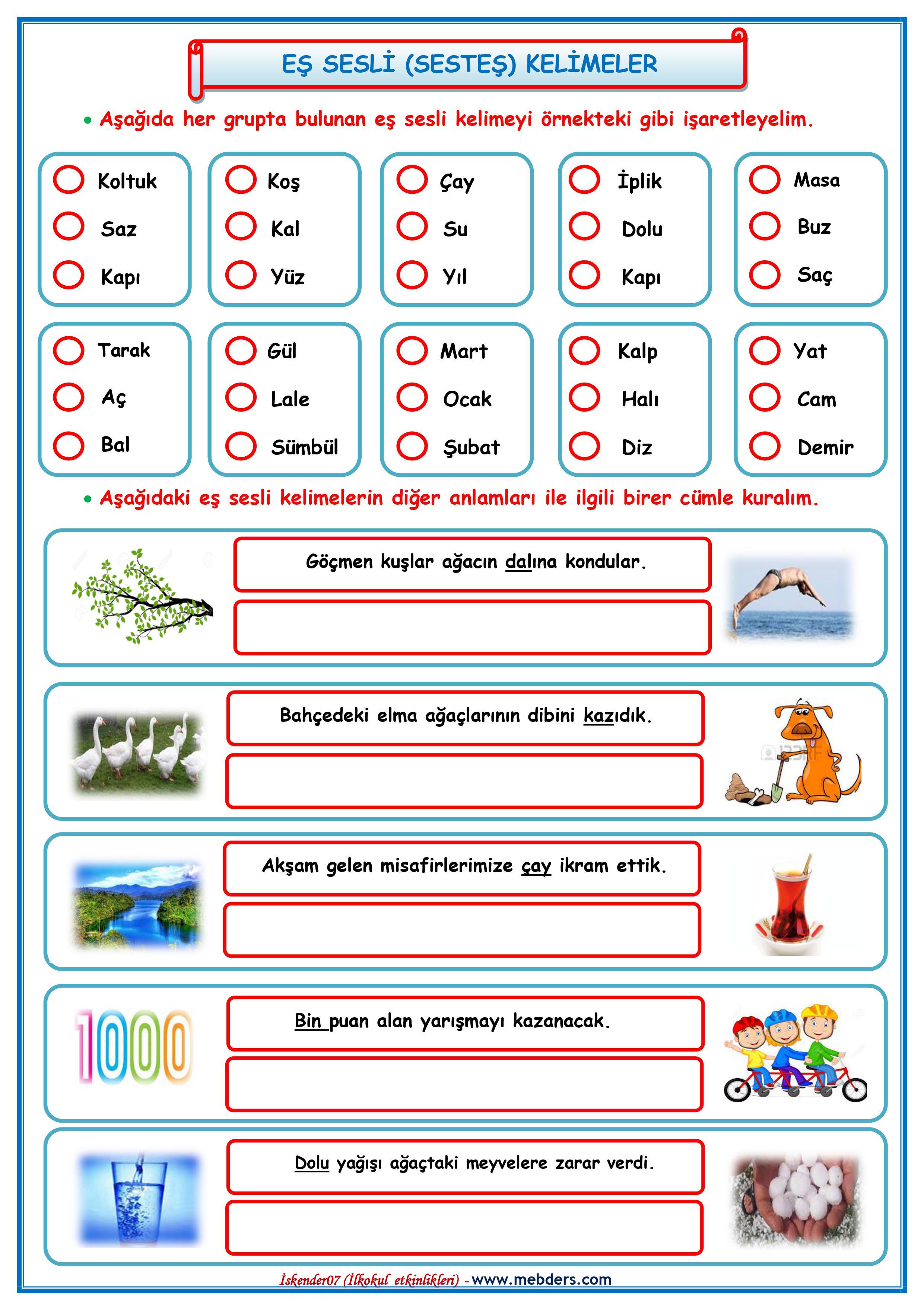 3.Sınıf Eş Sesli (Sesteş) Kelimeler Etkinliği