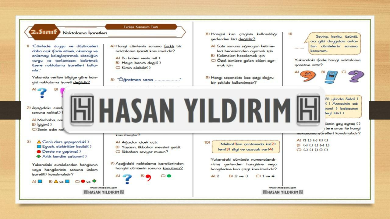 2.Sınıf Türkçe Noktalama İşaretleri Testi
