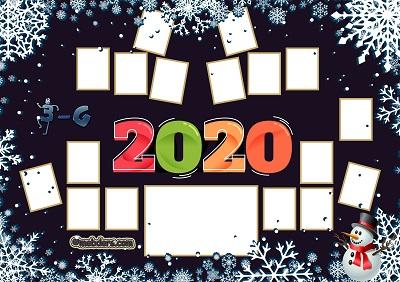 3G Sınıfı için 2020 Yeni Yıl Temalı Fotoğraflı Afiş (17 öğrencilik)