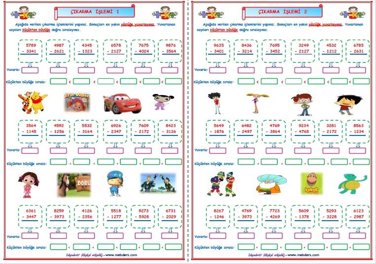 4.Sınıf Matematik Çıkarma İşlemi Çalışması 1-2  (2 SAYFA)