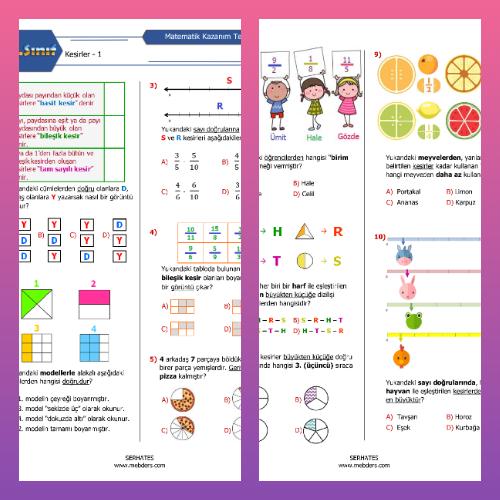 4. Sınıf Matematik Kesirler Kazanım Testi - 1