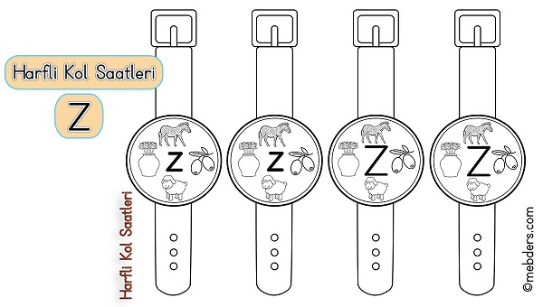1.Sınıf İlkokuma Harfli Kol Saatleri - Z Harfi