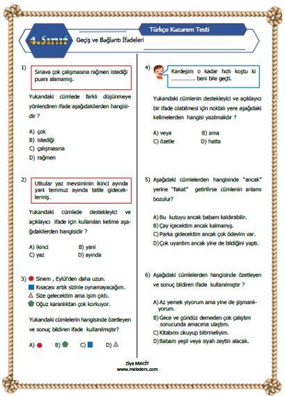 4.Sını Türkçe Geçiş ve Bağlantı İfadeleri  Kazanım Testi