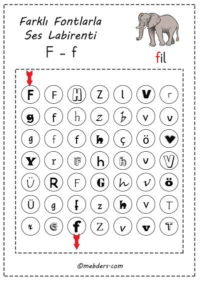 Farklı fontlarla ses labirenti - f sesi