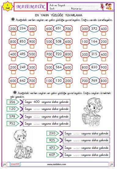 3. Sınıf Matematik En Yakın Yüzlüğe Yuvarlama Etkinliği 1