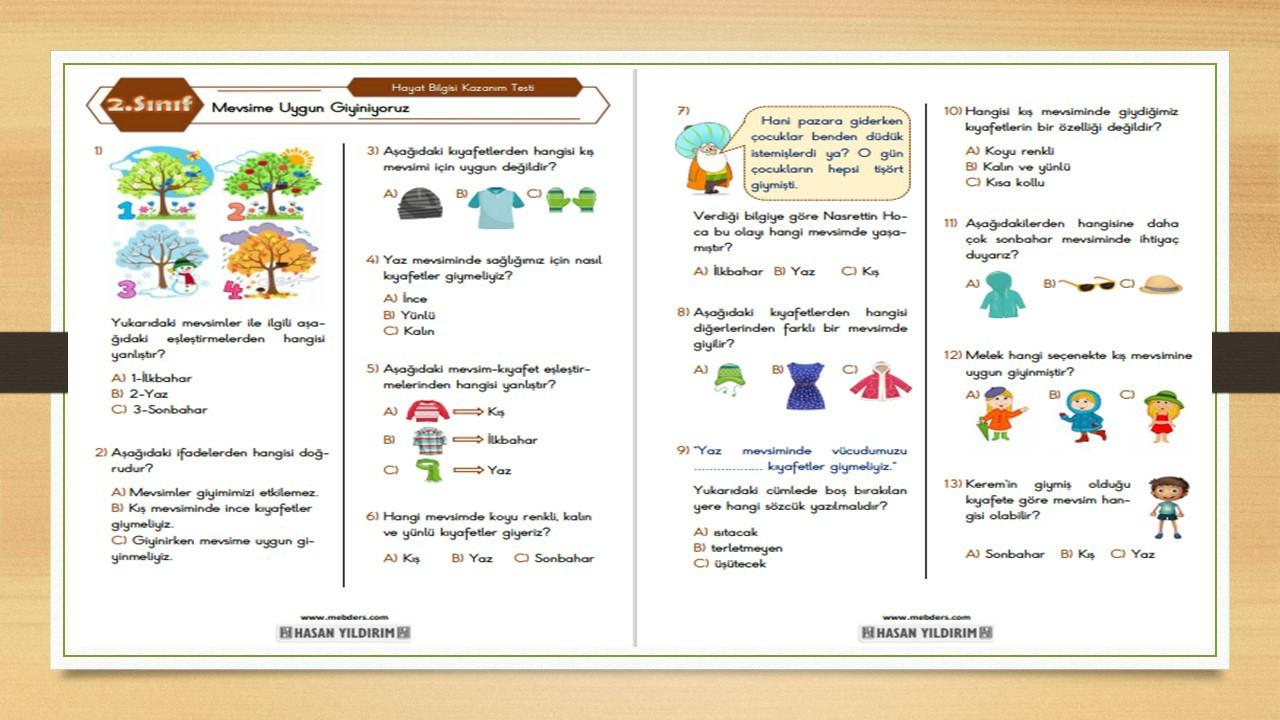 2.Sınıf Hayat Bilgisi Mevsime Uygun Giyiniyoruz Testi
