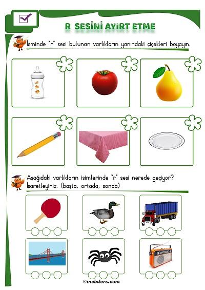1.Sınıf İlkokuma R Sesi Ayırt Etme Etkinliği