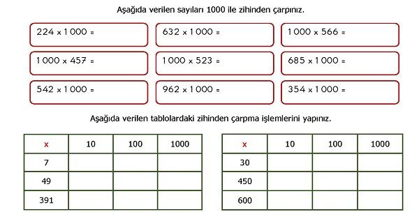 4.Sınıf Matematik Zihinden Çarpma İşlemi Etkinliği
