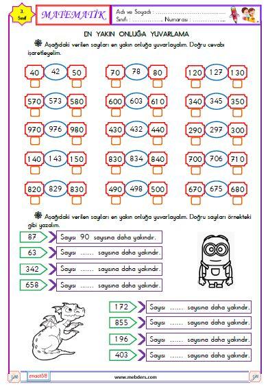 3. Sınıf Matematik En Yakın Onluğa Yuvarlama Etkinliği 1