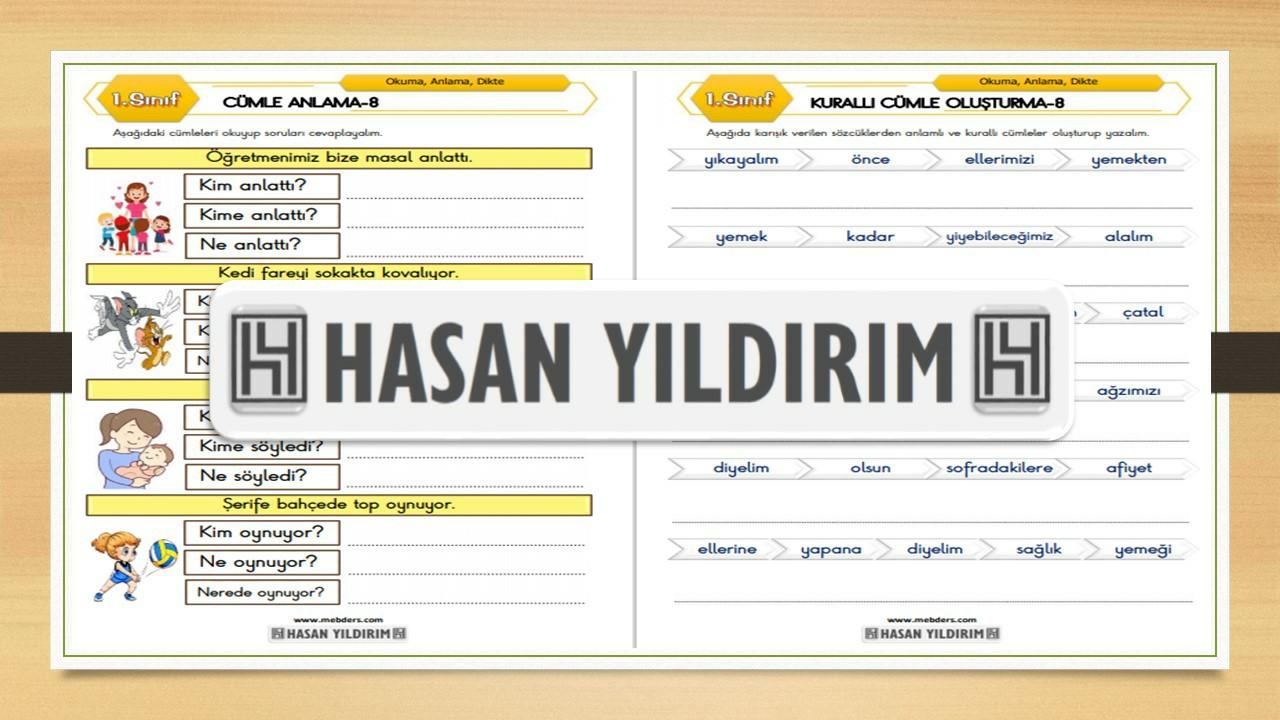 1.Sınıf Türkçe Cümle Anlama ve Kurallı Cümle Oluşturma-8