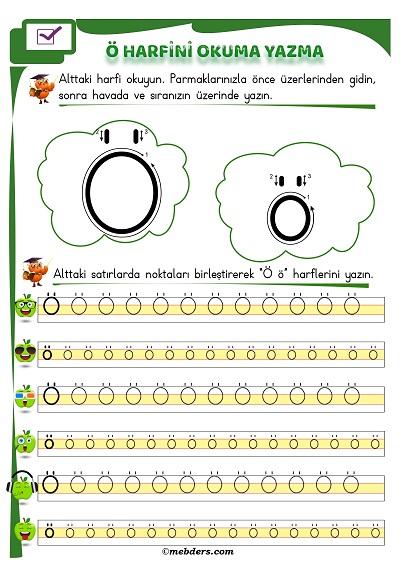 1.Sınıf İlkokuma Ö Sesi Okuma Yazma Etkinliği