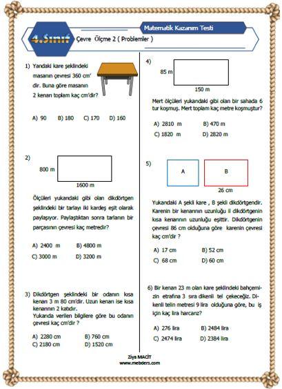 4.Sını Matematik Çevre Ölçme  Kazanım Testi 2 ( Problemler )