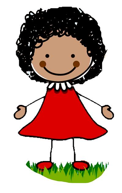 Clipart kıvırcık saçlı kollarını açmış kız çocuğu