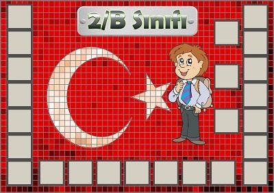Model 54, 2B şubesi için Türk bayraklı fotoğraf eklemeli kapı süslemesi - 24 öğrencilik